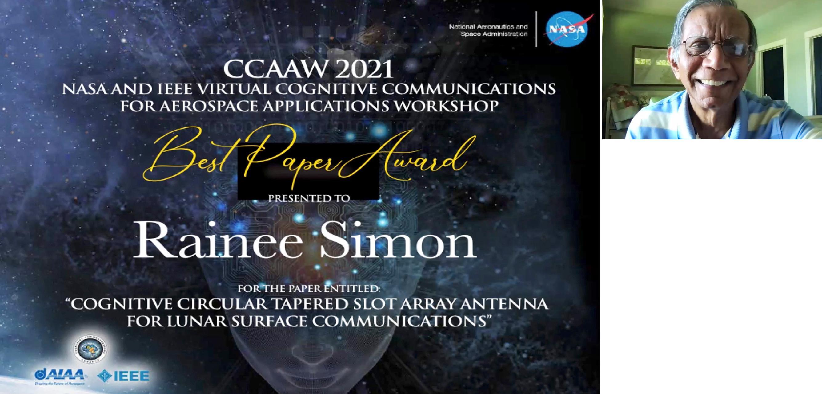 Best Paper Award to Rainee Simons